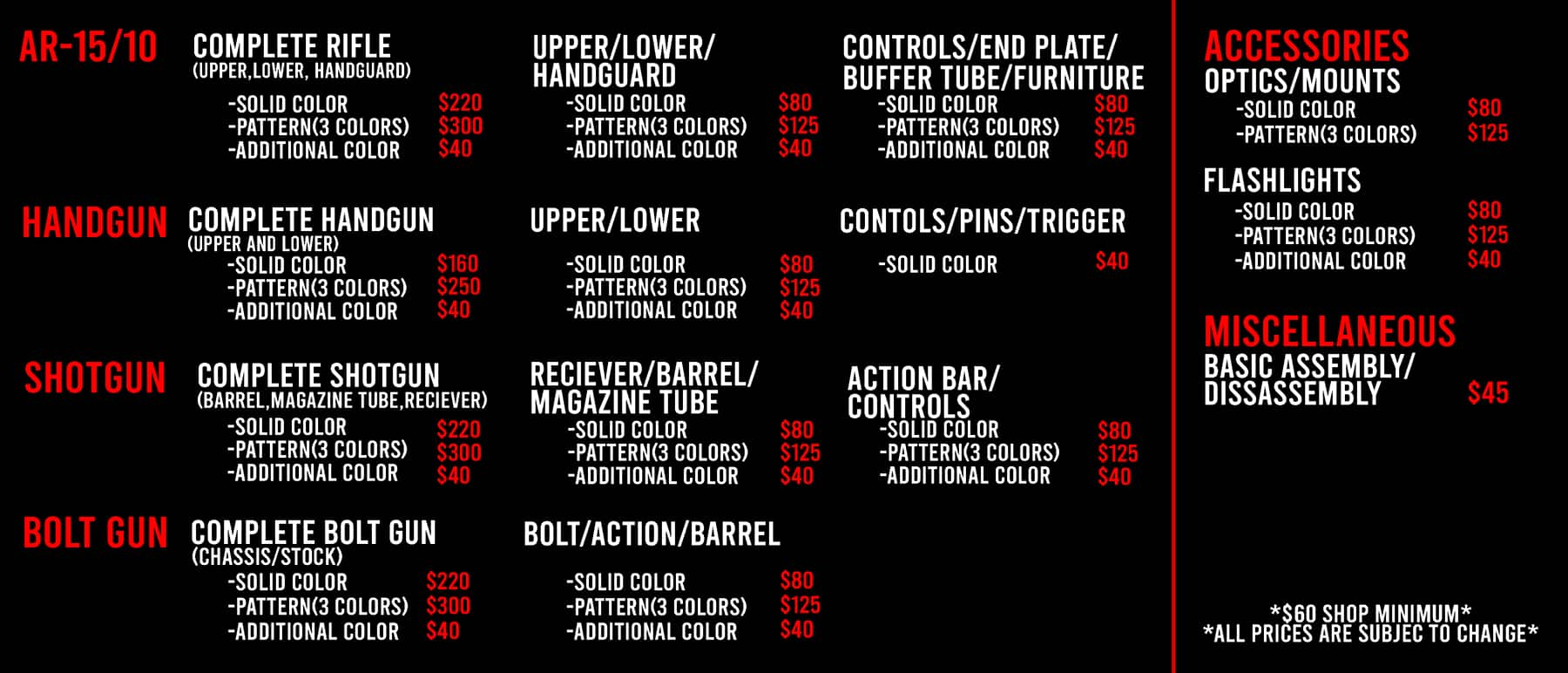 Freedom Firearms Las Vegas Cerakote Menu Pricing