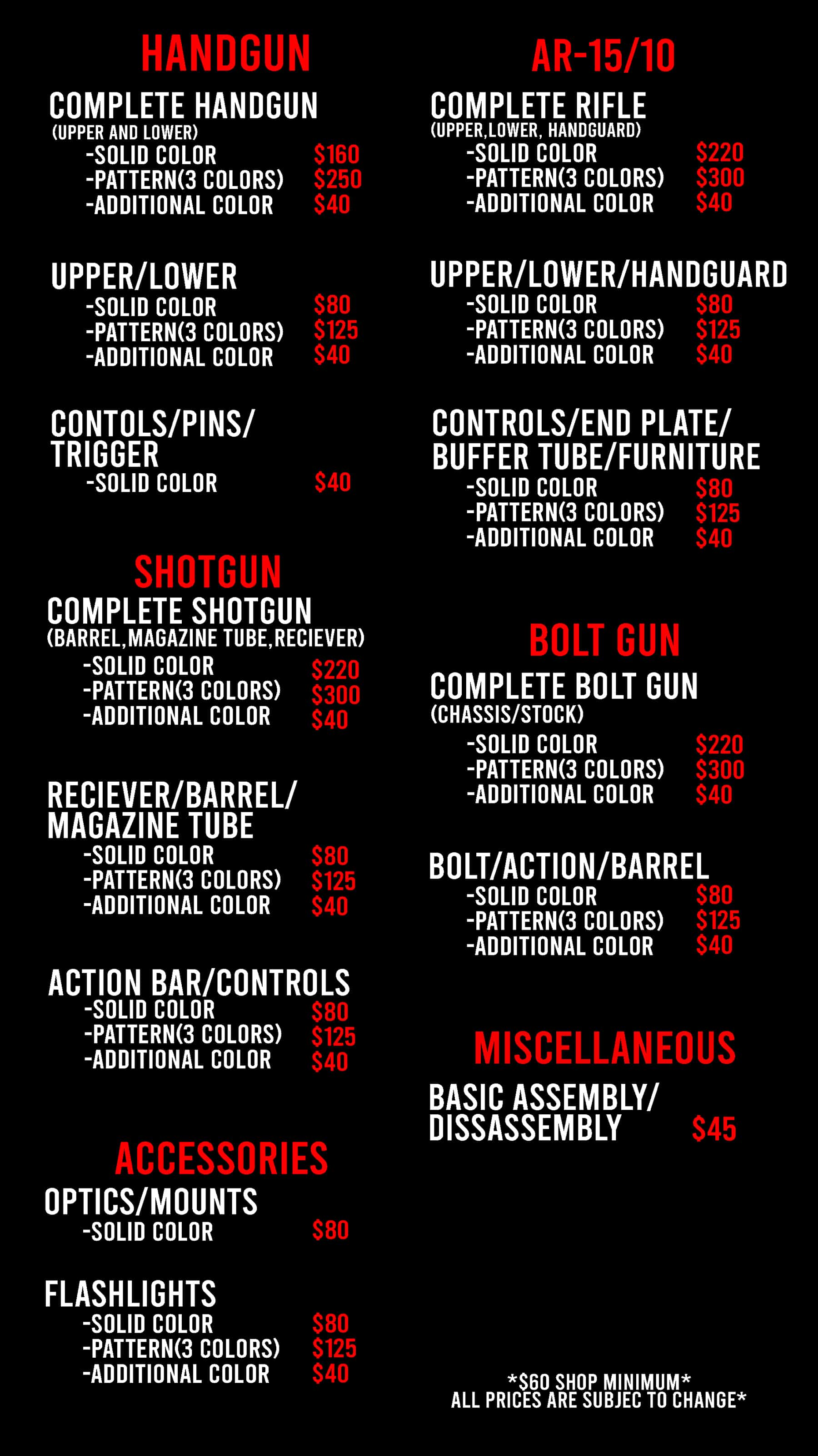 Freedom Firearms Las Vegas Cerakote Pricing Menu